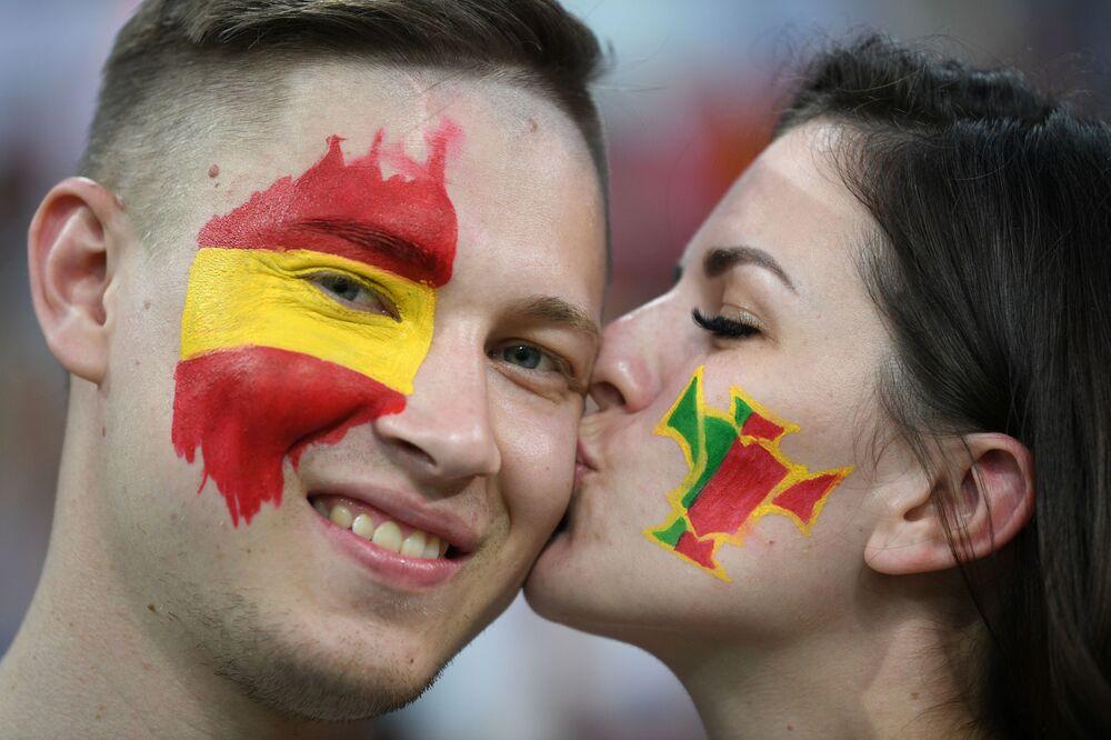 Kibice przed meczem MŚ 2018 Portugalia-Hiszpania