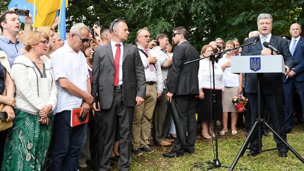 Petro Poroszenko podczas obchodów w Sahryniu - Sputnik Polska