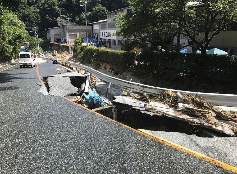 Uszkodzona droga w Hiroszimie