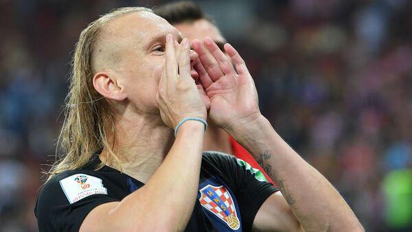 Домагой Вида радуется победе в полуфинальном матче чемпионата мира по футболу между сборными Хорватии и Англии - Sputnik Polska