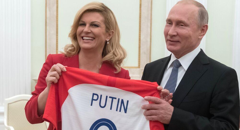 Prezydent Republiki Chorwacji Kolinda Grabar-Kitarovic i prezydent Rosji Władimir Putin