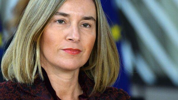 Wysoki Przedstawiciel Unii Europejskiej ds. Zagranicznych i Polityki Bezpieczeństwa Unii Europejskiej Federica Mogherini na szczycie UE w Brukseli - Sputnik Polska