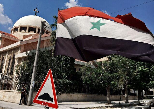 Flaga Syrii w Aleppo