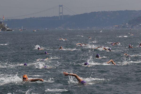 Uczestnicy Międzykontynentalnego wyścigu pływackiego przez wody Bosforu - Sputnik Polska