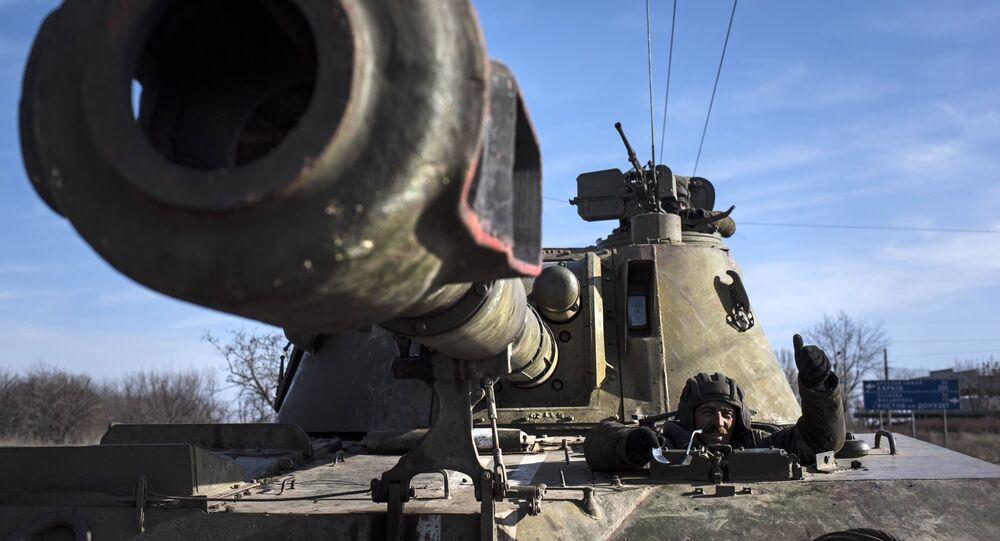 Ukraińska samobieżna instalacja artyleryjska na wschodzie Ukrainy. Zdjęcie archiwalne