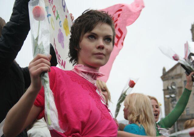 Artystka i jedna z założyciele ruchu Femen Oksana Szaczko. Zdjęcie archiwalne