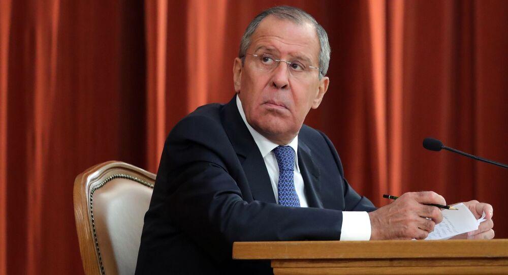 Minister spraw zagranicznych Rosji Siergiej Ławrow na naradzie z udziałem ambasadorów i stałych przedstawicieli Rosji