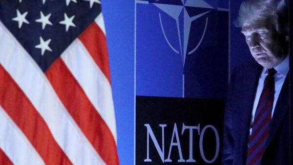 Prezydent USA Donald Trump na konferencji prasowej po szczycie NATO w Brukseli - Sputnik Polska