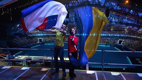 Flagi Rosji i Ukrainy - Sputnik Polska