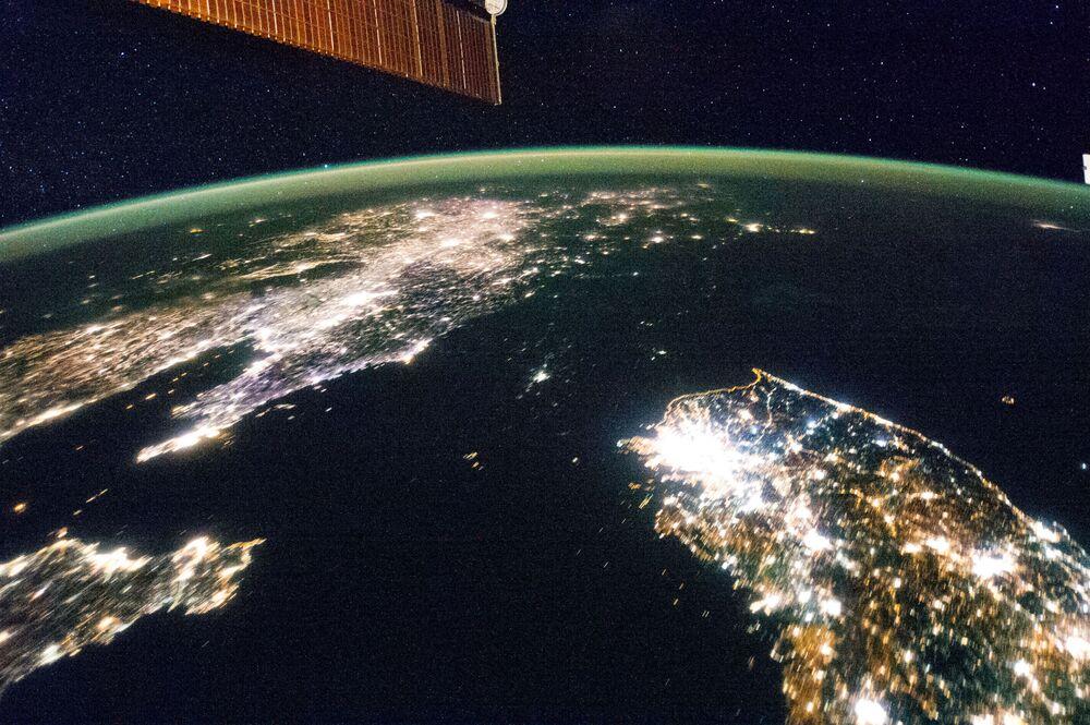 Półwysep Koreański z pokładu MSK