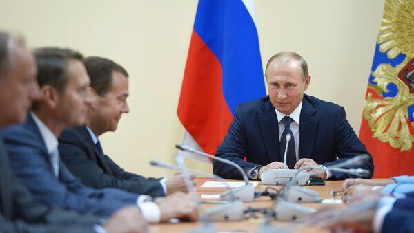 Prezydent Rosji Władimir Putin na naradzie operacyjnej ze stałymi członkami Rady Bezpieczeństwa Rosji w Sewastopolu - Sputnik Polska