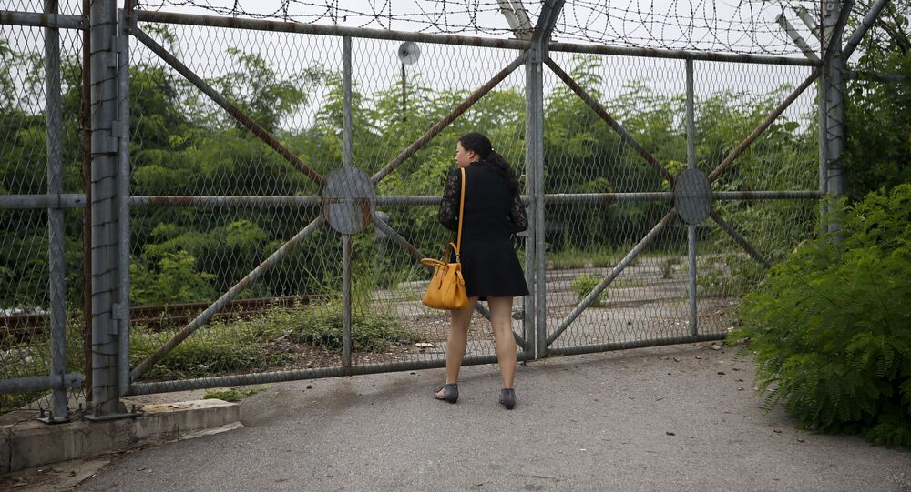 Chińska turystka patrzy przez ogrodzenie około strefy zdemilitaryzowanej pomiędzy Koreą Północną a Koreą Południową