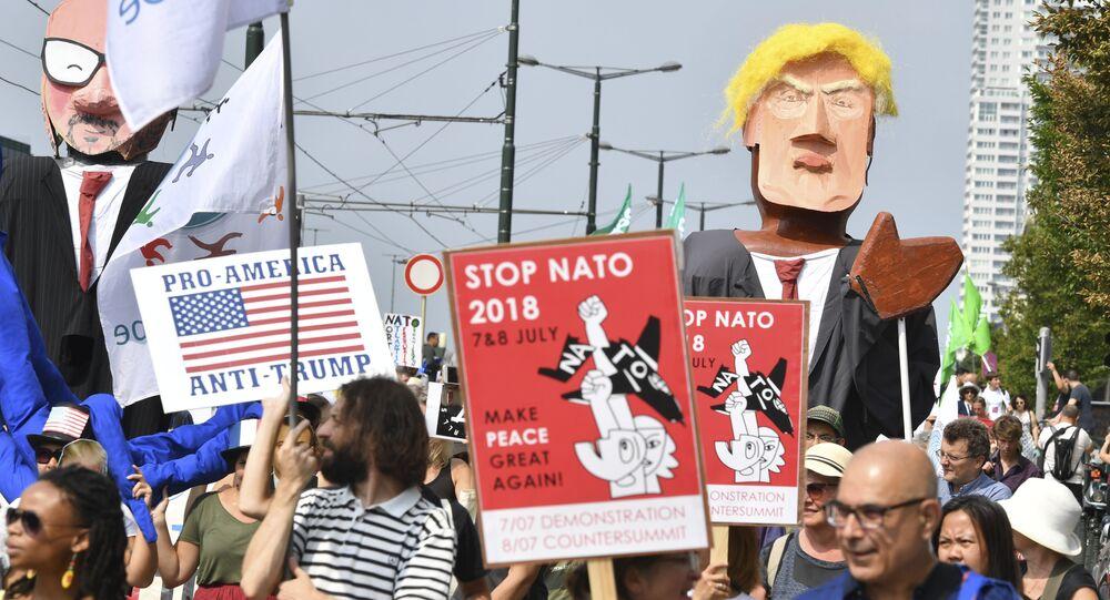 Protesty przeciwko Trumpowi w Brukseli