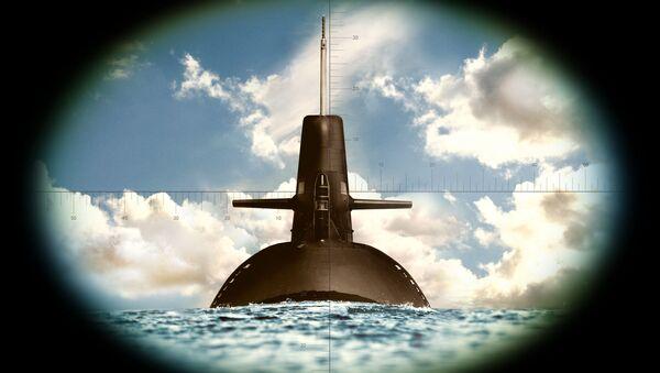 Okręt podwodny widziany przez lornetkę - Sputnik Polska