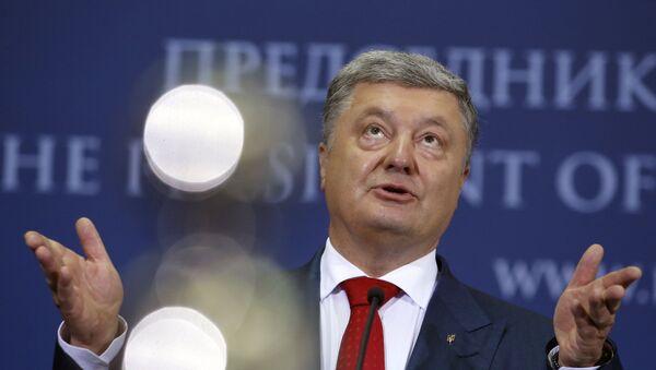 Prezydent Ukrainy Petro Poroszenko na konferencji prasowej w Belgradzie, Serbia - Sputnik Polska