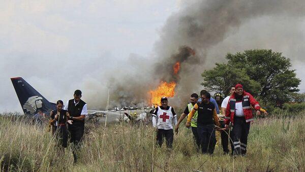 Medycy i ratownicy na miejscu katastrofy samolotu linii lotniczych Aeromexico w Meksyku - Sputnik Polska