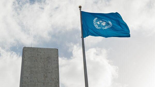 Flaga przed siedzibą ONZ w Nowym Jorku - Sputnik Polska