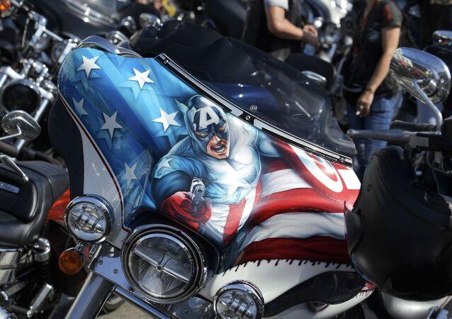 Motocykle uczestników festiwalu St.Petersburg Harley Days