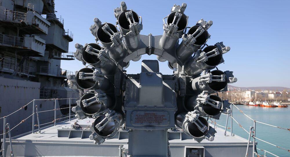 Wyrzutnia Kalibr na fregacie Admirał Grigorowicz marynarki wojennej Rosji
