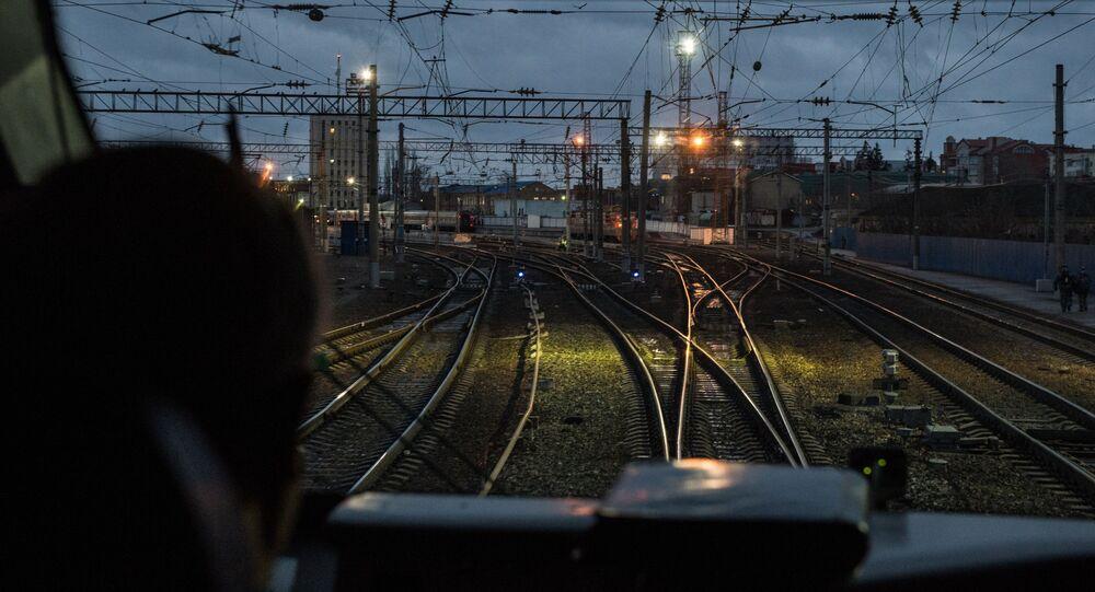 Maszynista w pociągu