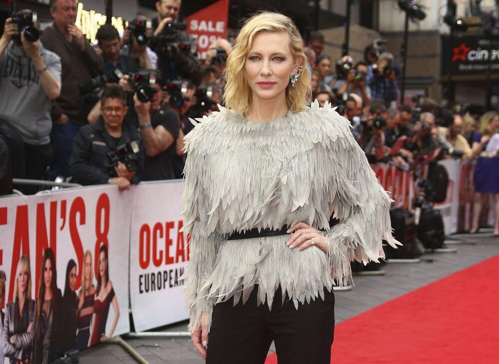 Aktorka Cate Blanchett na premierze filmu Ocean's Eight w Londynie