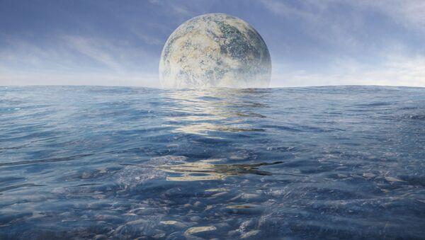 Egzoksiężyc na tle morza na egzoplanecie - Sputnik Polska