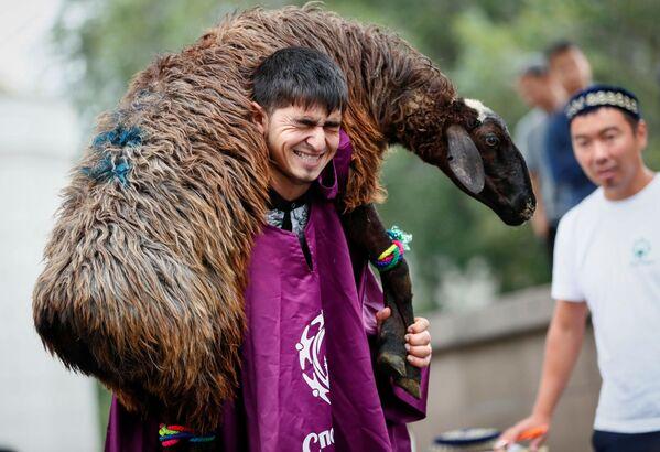 Mężczyzna trzyma owcę. Ałmaty, Kazachstan - Sputnik Polska