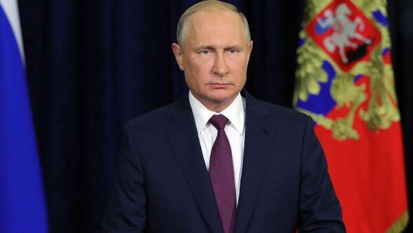 Prezydent Rosji Władimir Putin podczas przemówienia do uczestników i gości Międzynarodowego Forum Wojskowo-Technicznego Armia 2018 - Sputnik Polska