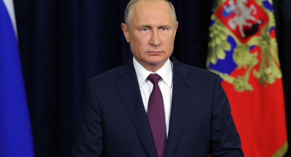 Prezydent Rosji Władimir Putin podczas przemówienia do uczestników i gości Międzynarodowego Forum Wojskowo-Technicznego Armia 2018