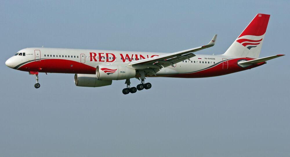 Samolot Tu-204 linii lotniczej Red Wings. Zdjęcie archiwalne