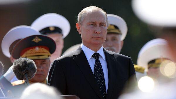 Prezydent Rosji Władimir Putin na świętowaniu Dnia Marynarki Wojennej Rosji w Petersburgu - Sputnik Polska