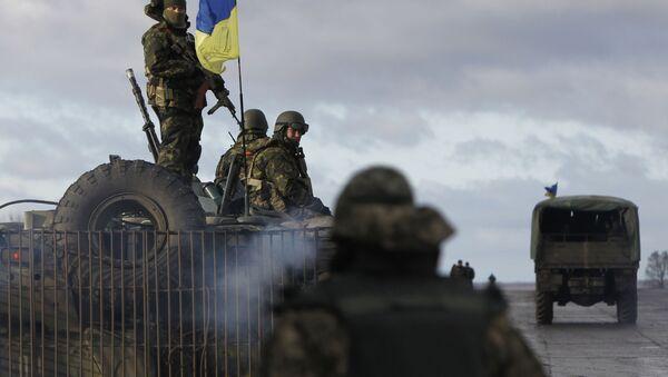 Ukraińskie wojsko na terenie bazy wojskowej w Kramatorsku, obwód doniecki. Zdjęcie archiwalne - Sputnik Polska