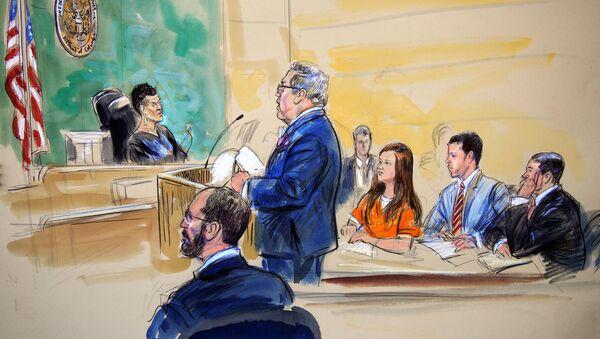 Szkic przedstawiający oskarżoną o szpiegostwo Marię Butinę i jej prawnika Roberta Driscolla podczas rozprawy sądowej w Sądzie Federalnym Stanów Zjednoczonych w Waszyngtonie - Sputnik Polska
