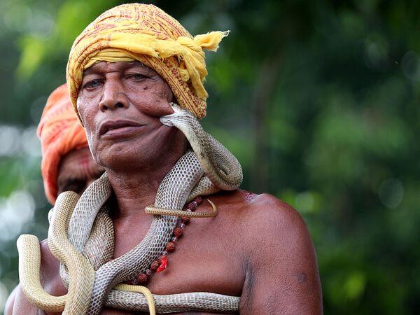 Zaklinacz węży na festiwalu Maa Mansa Puja w Indiach - Sputnik Polska