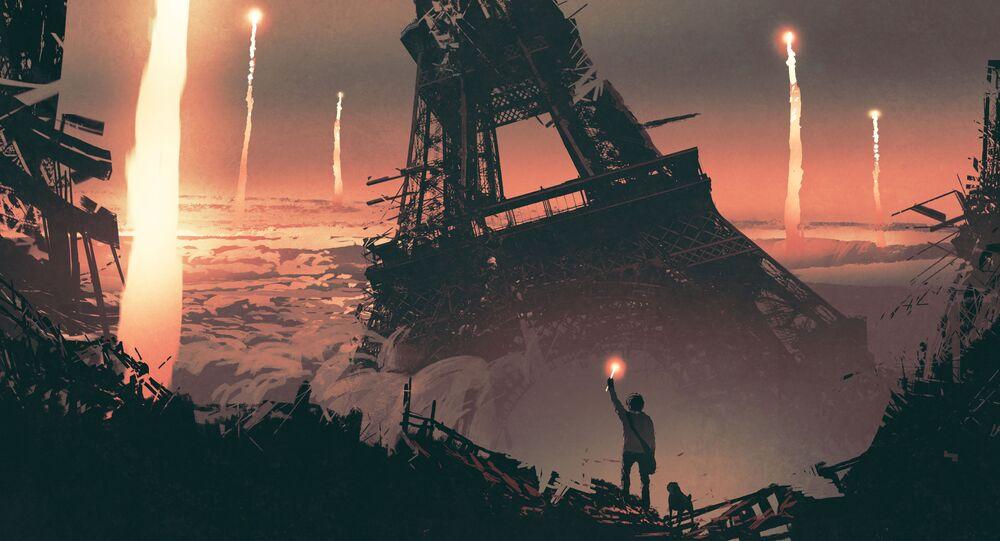 Apokaliptyczny obraz na tle wieży Eiffla