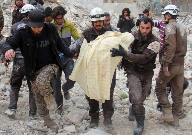 Aktywiści Białych Hełmów w Syrii
