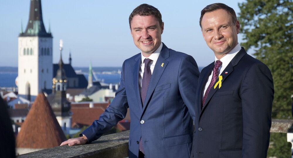 Premier Estonii Taavi Rõivas i prezydent Polski Andrzej Duda podczas spotkania w  Tallinie