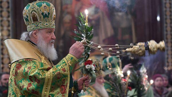 Liturgia z udziałem patriarchy w przeddzień Niedzieli Palmowej - Sputnik Polska