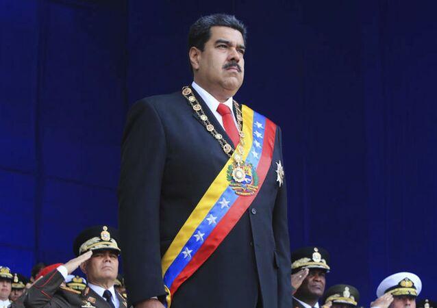 Prezydent Wenezueli Nicolas Maduro na defiladzie wojskowej w Caracas