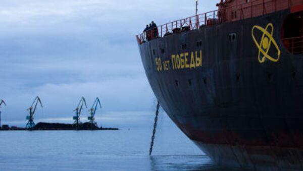 """Lodołamacz atomowy """"50 lat Zwycięstwa"""" - jeden z trzech lodołamaczy eskortujących tankowiec """"Bałtyka"""" na trasie Murmańsk-port Ningbo Północnej Drogi Morskiej - Sputnik Polska"""