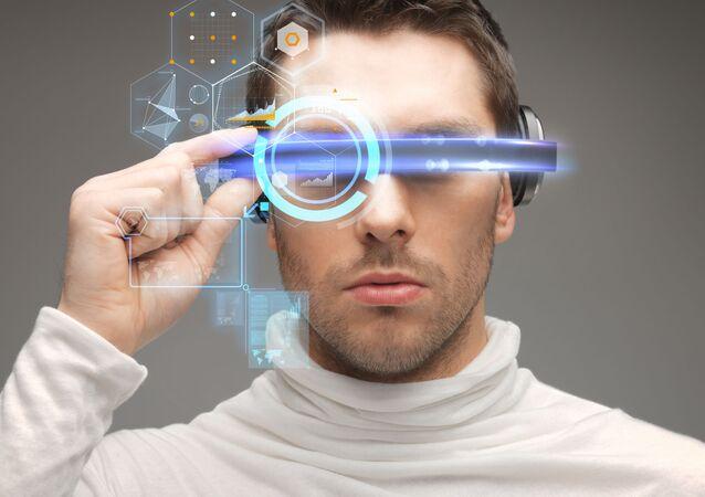 Mężczyzna w futurystycznych okularach