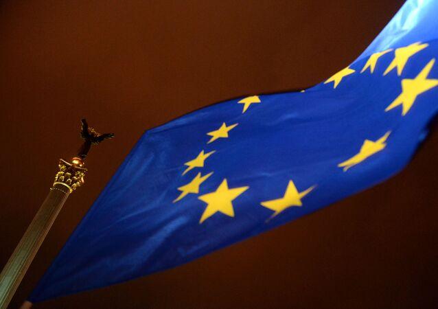 Flaga UE w Kijowie
