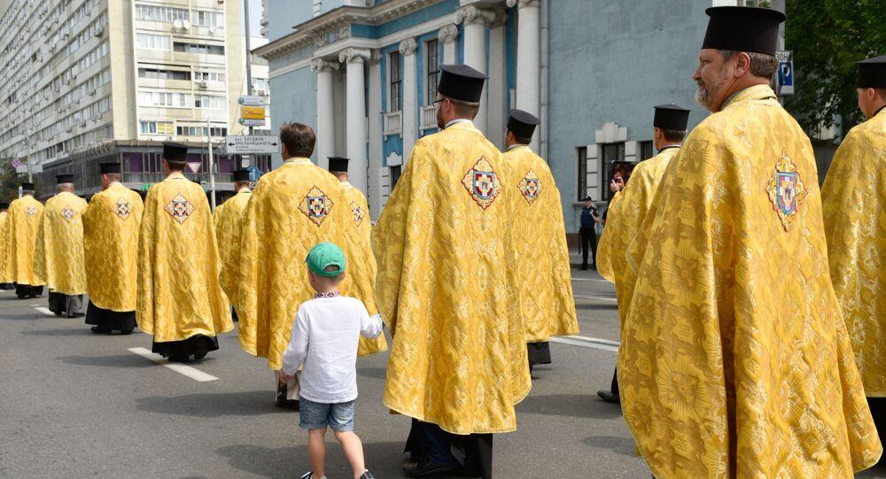 Uczestnicy procesji Ukraińskiego Kościoła Prawosławnego w Kijowie