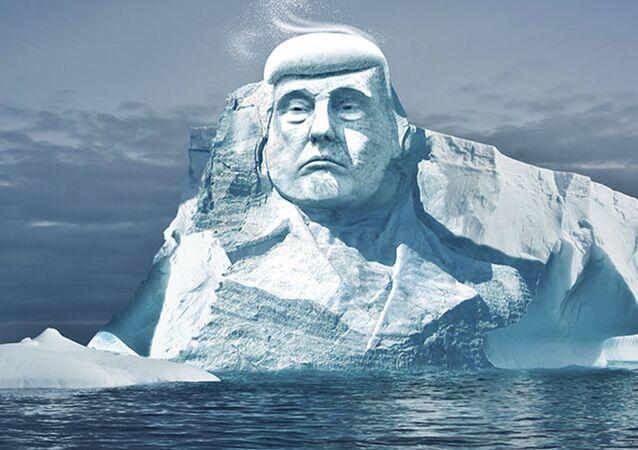 Projekt rzeżby lodowej w Arktyce, przedstawiającej prezydenta USA Donalda Trumpa