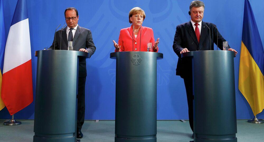 Petro Poroszenko, Angela Merkel i Francois Hollande w Berlinie