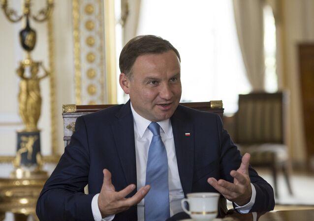 Prezydent Polski Andrzej Duda podczas wywiadu