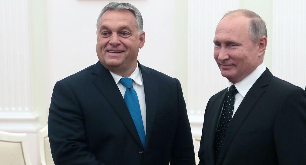Prezydent Rosji Władimir Putin i premier Węgier Wiktor Orban w czasie spotkania