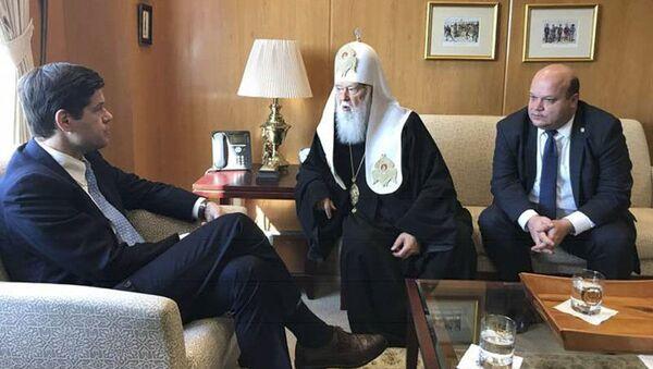 Zwierzchnik Ukraińskiego Kościoła Prawosławnego Patriarchatu Kijowskiego Filaret złożył oficjalną wizytę w amerykańskim Departamencie Stanu - Sputnik Polska