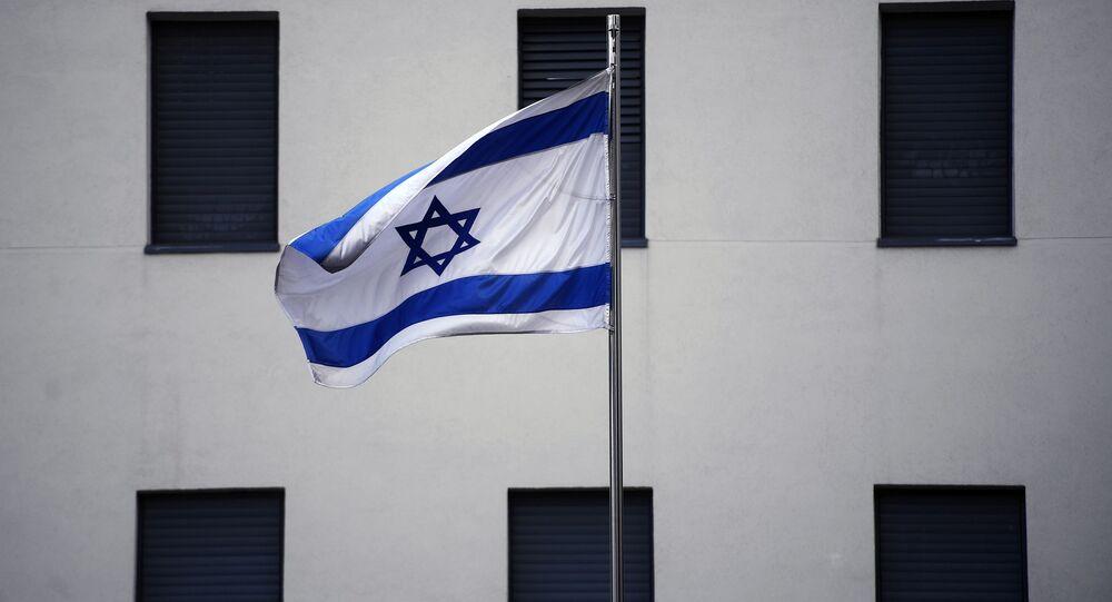 Flaga na budynku ambasady Izraela w Moskwie