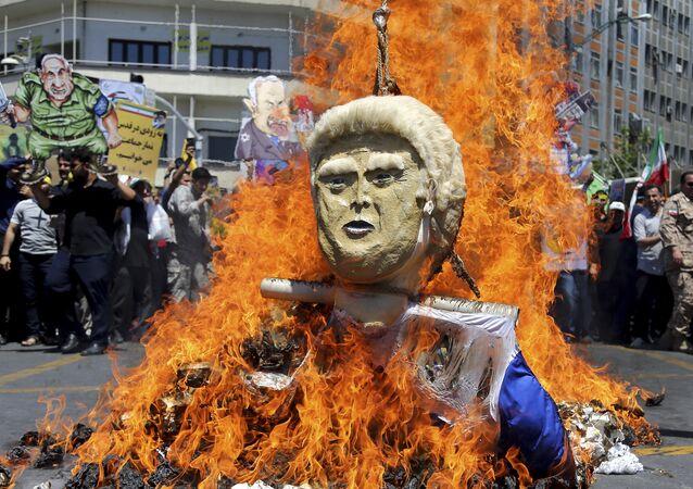 Płonąca kukła Trumpa, Teheran